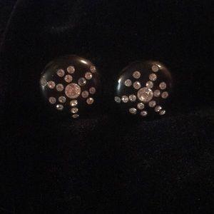 Starburst vintage acrylic black earrings clip-on
